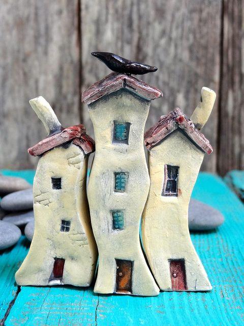 Miniature ceramic house by Cherry*Heart, via Flickr