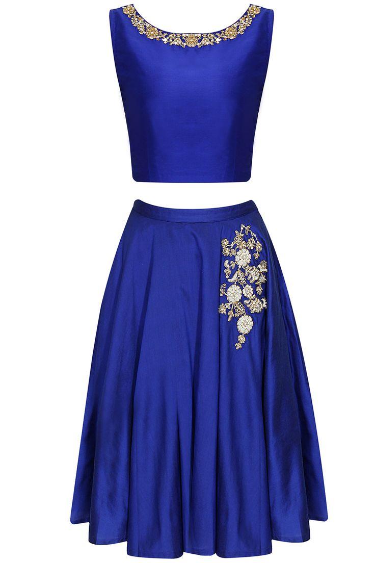 Blue dabka embroidered crop top and skirt by Sonali Gupta. Shop now: www.perniaspopups.... #croptop #elegant #skirt #sonaligupta #pretty #clothing #shopnow #perniaspopupshop #happyshopping