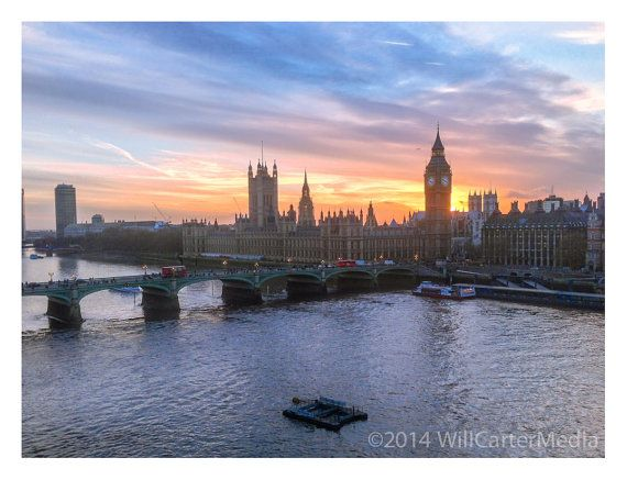 London fine art photography. Big Ben, Westminter. Thames. Urban inspired. Color or monochrome print, multiple sizes. Free US shipping.