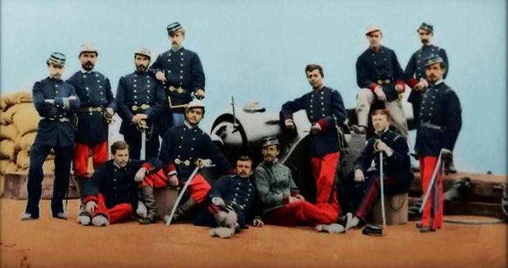 Oficiales chilenos de artillería después de la toma de Arica