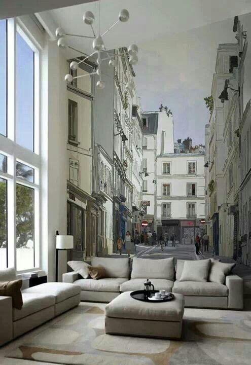 Trompe l'oeil..wouldn't you love to have this in your living room!