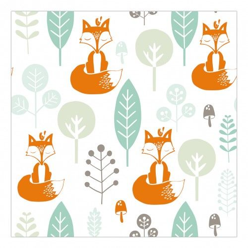 Kinderkamer behang vosjes | Roodborstje