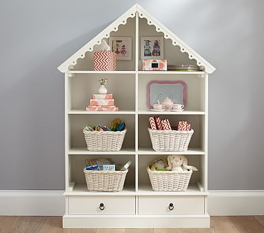 Dollhouse Bookcase, Pottery Barn Kids $499 but custom to fit Belle's room