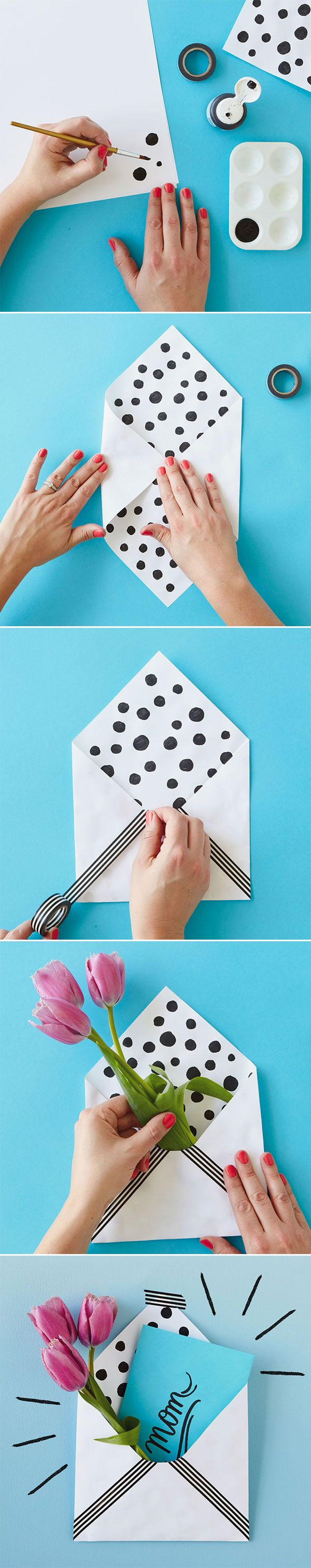 This DIY project is easy enough for kids to do! A little paint, folding, tape and - VOILA! - a nice decorated envelope perfect for a card and flower this Mother's Day. Get more DIY inspiration from Think.Make.Share!
