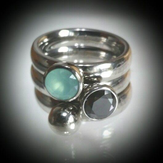 Aqua/zwart/zilveren bal