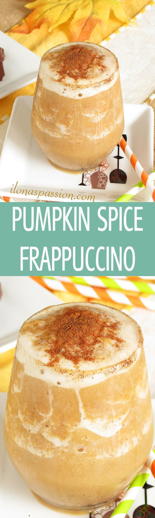 Pumpkin Spice Frappuccino - easy to make autumn pumpkin frappuccino recipe with cinnamon. Healthy, vegan, skinny and delicious! by http://ilonaspassion.com I /ilonaspassion/