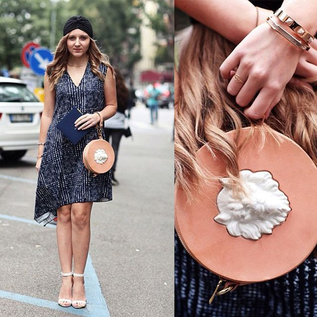 Fashion blogger Daria Kunilovskaya (Fashion Daily) rocking our handbag by Andres Gallardo on Milan Fashion Week