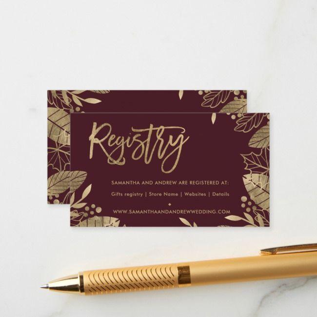 Goldblätter fallen schicke rote Hochzeitsregister-Einschließungskarte | Zazzle   – Digital Portfolio Template