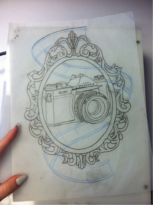 This is kind of what I've been thinking about getting, a framed camera tattoo.