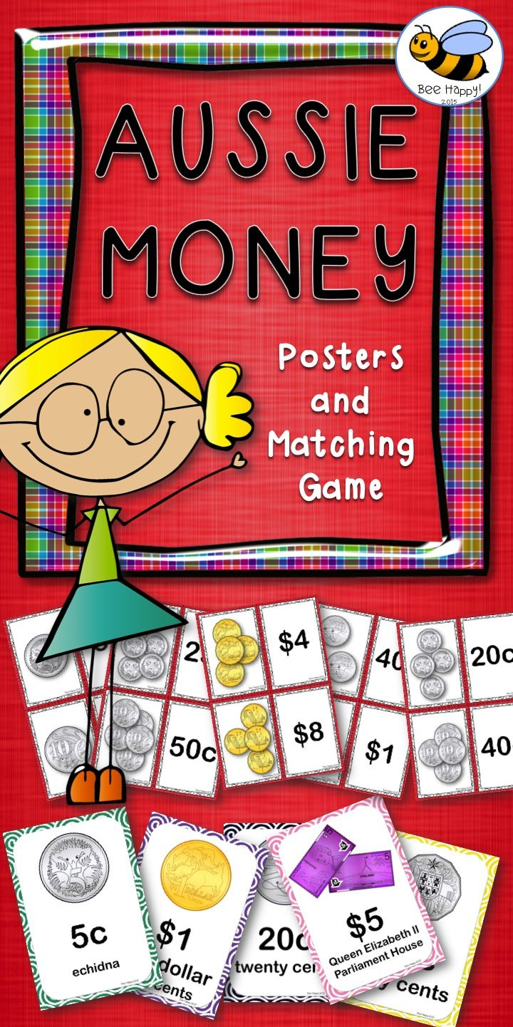 $6 Australian Money Posters - 2 sets of 11 posters + Game Cards for matching coins to a price. Very versatile cards - can be used as a simple matching game for individuals or small groups, Concentration, Memory or Go Fish. Simply cut and laminate for hours of fun and learning.