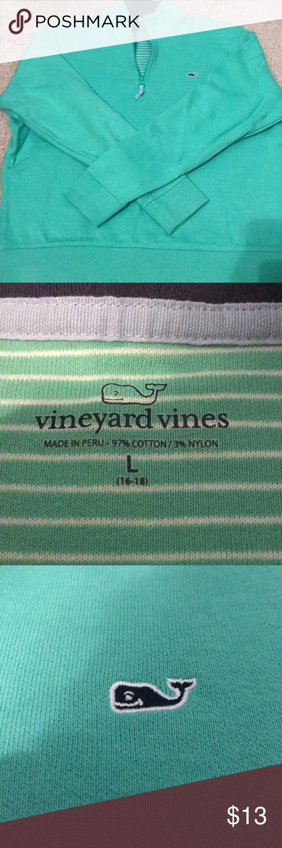 Boys Vineyard Vines Quarter Zip Get your stylish little boy or girl this awesome quarter zip for the holidays!!! Size youth L (16-18). Sea foam green in color. Worn once. Could also fit adult size XS!! Not super thin material, but good for a 50-60 degree day. Vineyard Vines Jackets & Coats