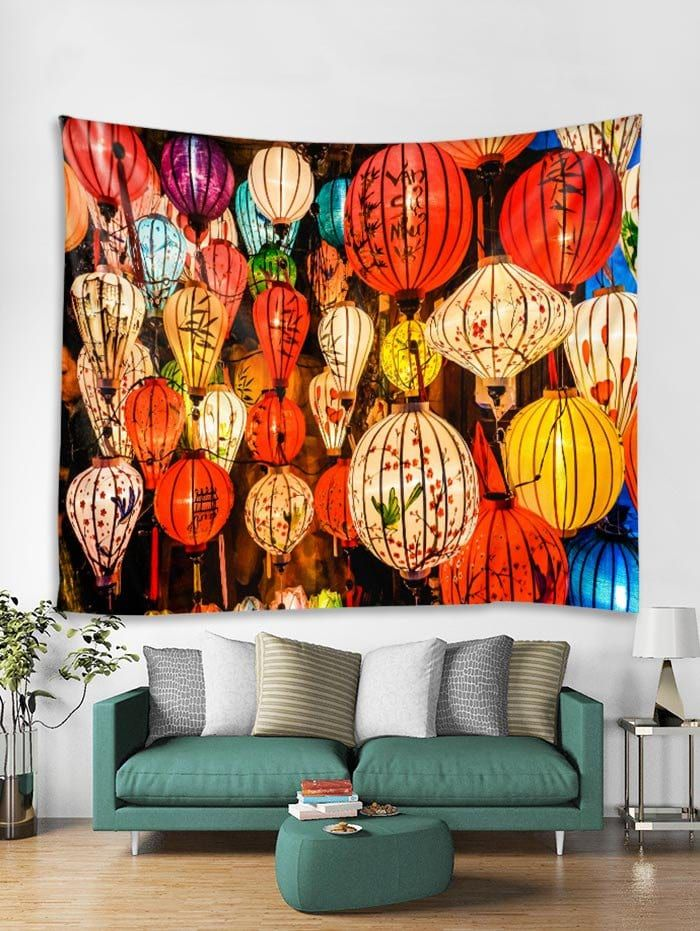 Lantern Print Tapestry Wall Hanging Art Decoration Tapestry Wall