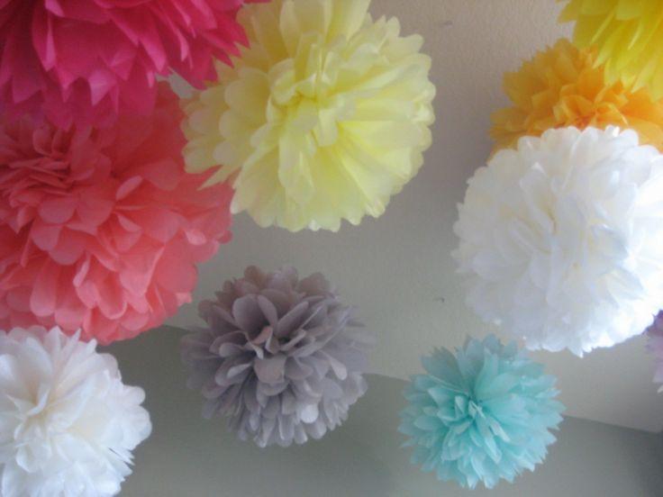 40 Tissue Paper Pom Poms Wedding Reception by prosttothehost. $130.00, via Etsy.