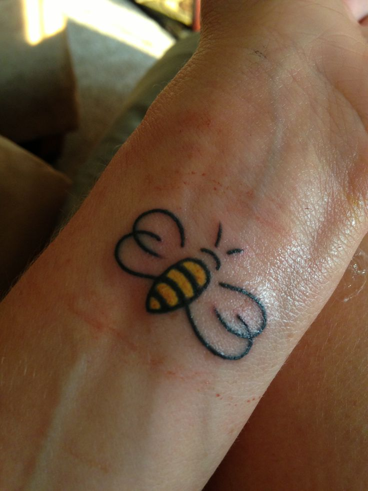 Cute honey bee tattoo - photo#12