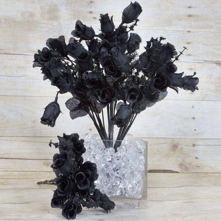 180 Artificial Silk Mini Rose Buds With Baby Breath Wedding Bouquet Vase Centerpiece Decor - Black