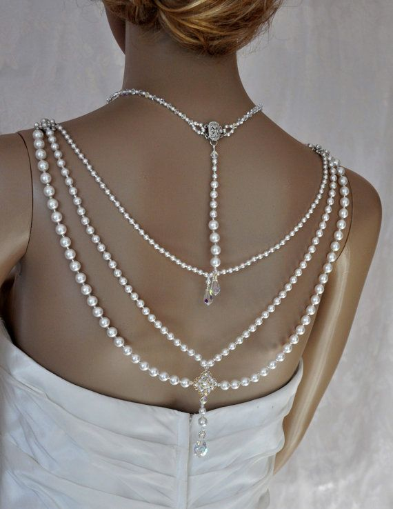 Swarovski Necklace Lariat, back drop, bridal, White Swarovski Pearls, Swarovski Crystals, Rhinestones, Filigree, Teardrops,Wedding, Draping. on Etsy, $245.00