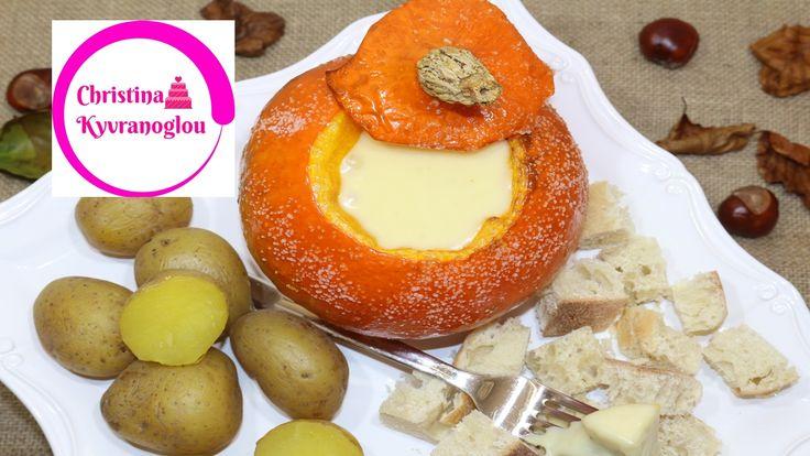 Kürbis Käse Fondue / Käsefondue im Kürbis Rezept / Schweizer Käsefondue