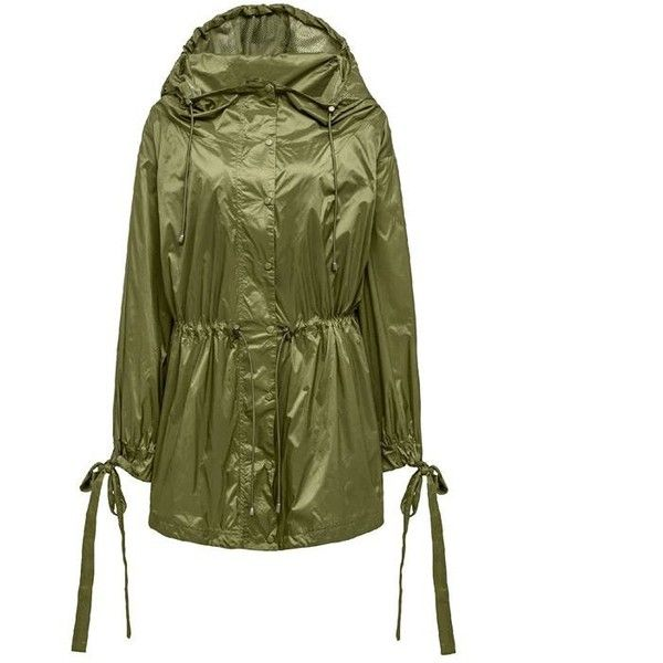 Fenty Puma By Rihanna Bow Detail Parka Jacket ($2,295) ❤ liked on Polyvore featuring outerwear, jackets, olive, green parka jacket, light weight jacket, parka jacket, army green parka and olive green parka