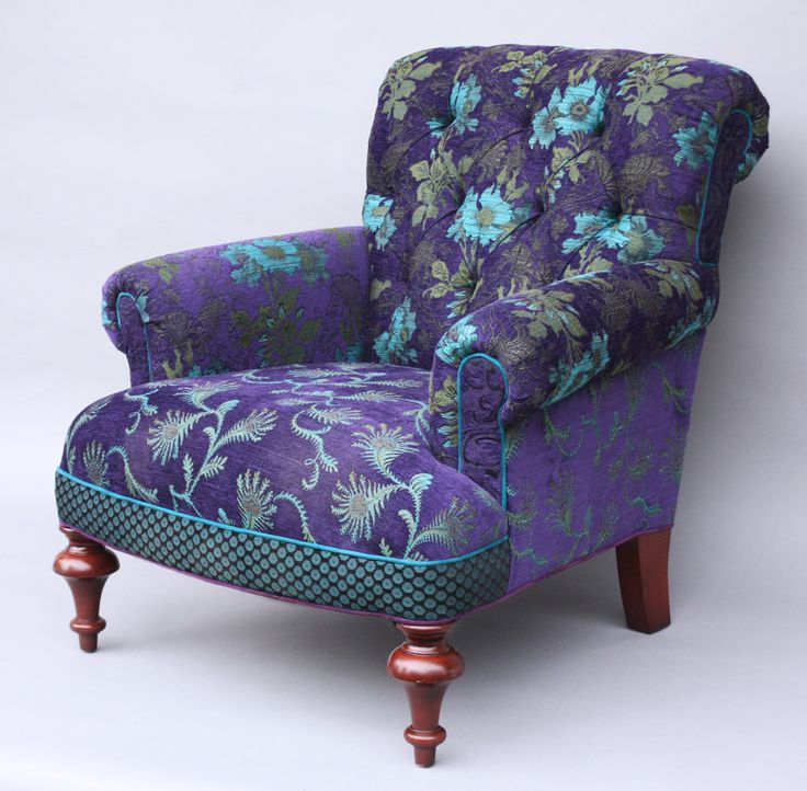 Middlebury Chair in Plum by Mary Lynn O'Shea. Upholstered chair covered in the artist's own *jacquard* double-cloth cotton and rayon fabric. Kiln-dried hardwood frame with double doweled joints and blocked corners. Hand-tied deep seating coils tied in 8 directions. Spring-down cushions offer strength and comfort. Seat height is 17