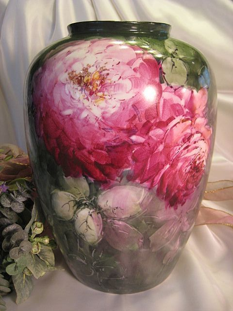 Limoges France Antique Porcelain Vase Hand Painted Large Pink and Burgundy CABBAGE ROSES Circa 1925