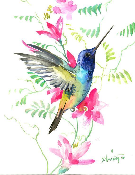 Pintura de Colibrí 14 x11 en aves de pintura zen arte de