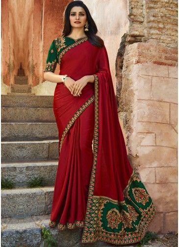 ad3e5cd7ec9fb3 Prachi Desai Dark Red Embroidered Art Silk Saree in 2019 | Beginners ...