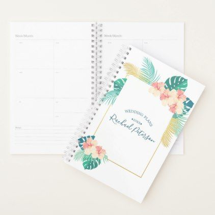 Gold Hawaiian Hibiscus Wedding Monogram Planner - gold wedding gifts customize marriage diy unique golden