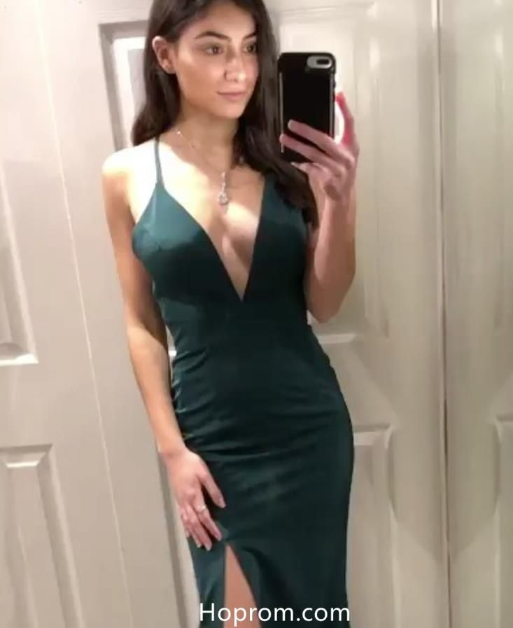 93714ce941 Simple Dark Green Spaghetti Straps Slit Evening Dresses Prom Dresses ...