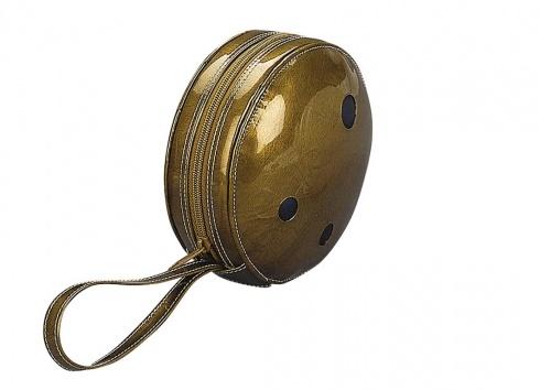PORTA CD BOWLING 24 CD. Porta CD a forma di palla da bowling con chiusura a zip e manico per infilarlo al polso, puo' contenere fino a 24 CD