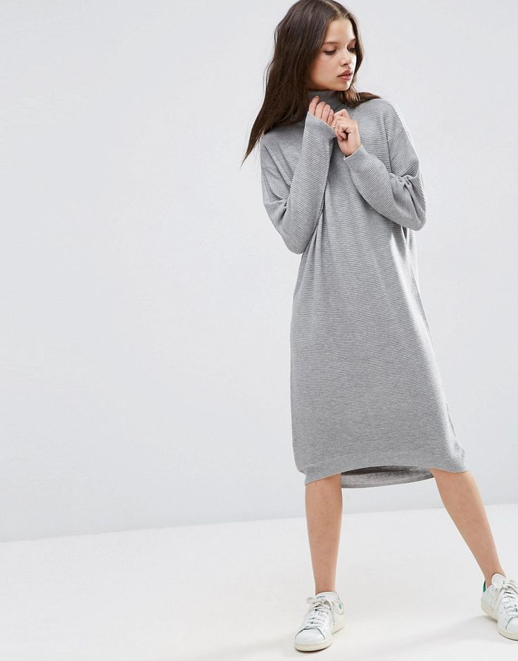 ASOS PETITE Midi Dress in Knit with High Neck