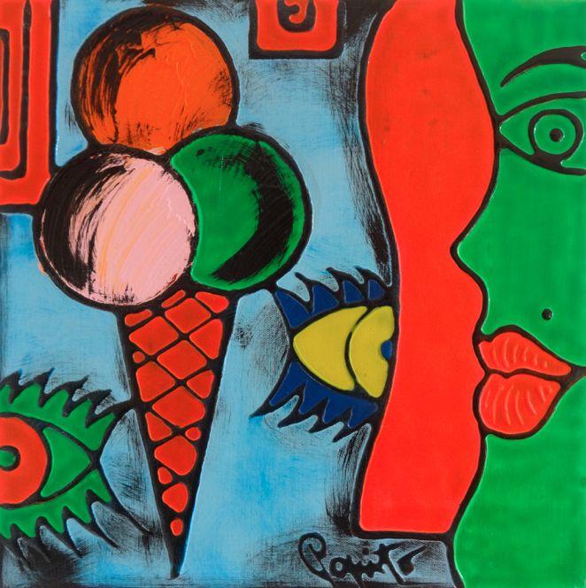 TENTAZIONI #06 - 40x40 cm. - Acrilic on canvas  #ICECREAM #TENTAZIONI #TEMPTATIONS