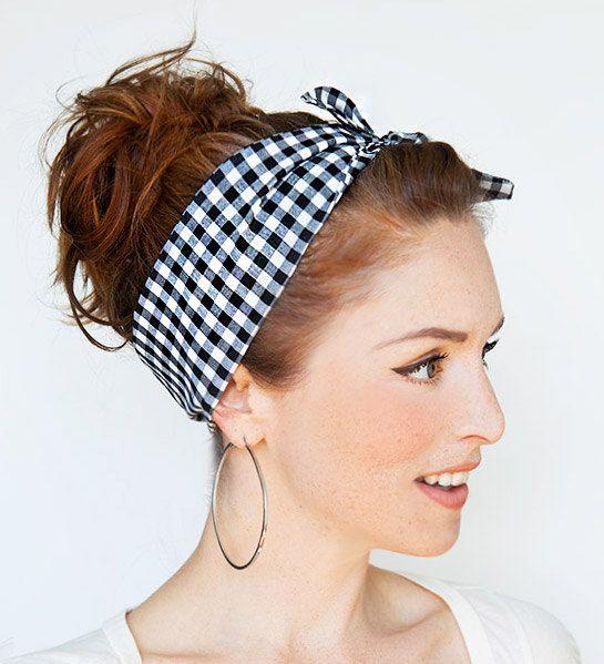 Gingham Headband Pinup Bandana Rockabilly Hair by MinitaStudio