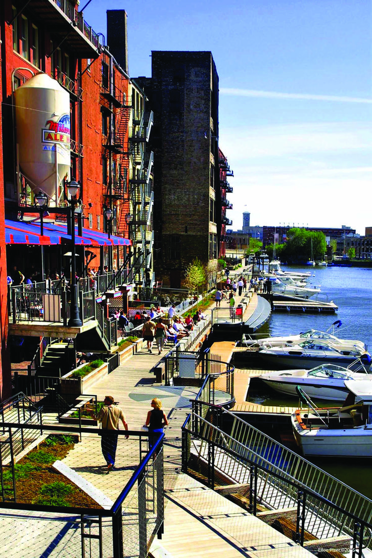 "The Milwaukee RiverWalk - voted one of the ""Great Public Places in America"" in 2011"