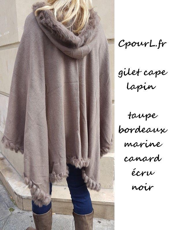 gilet cape bordé lapin vente boutique en ligne CpourL.fr