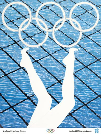 Anthea Hamilton. Using silhouettes over a strong blue background is a creative way of moving a design on. Try to make this project about your personal connection with swimming.