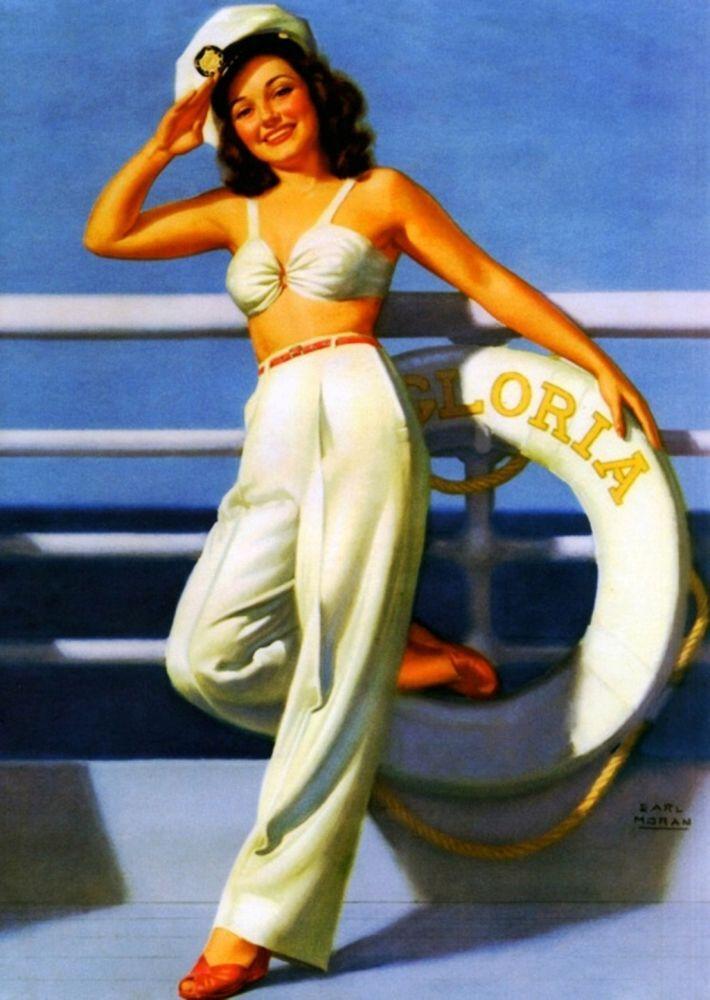 Ship Shape (PINUP):   Earl Moran  :  Fine Giclee Print #Painting