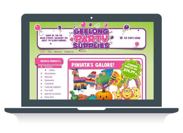 Geelong Party Supplies Website Design - Martlette Graphic Design Geelong www.martlette.com.au