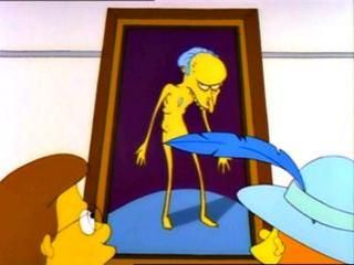 Marge's painting of Mr Burns on display