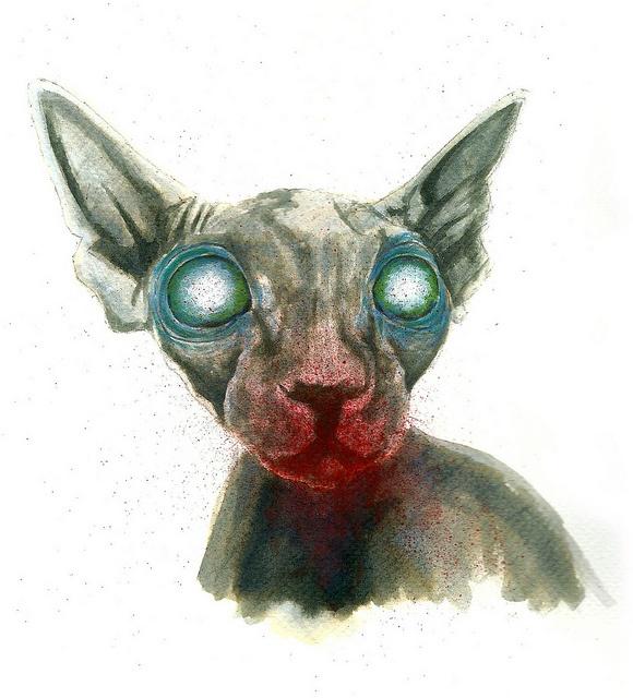zombie sphynx cat 2 rough sketch by Rebel Monkey Tattoos, via Flickr