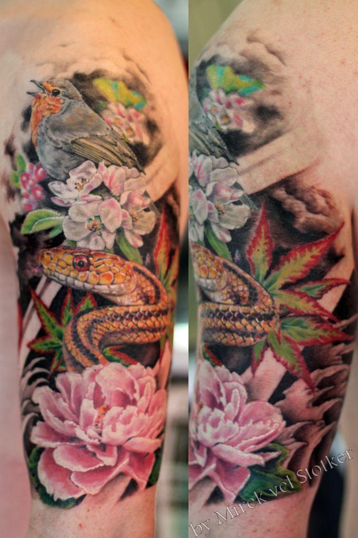 robin bird and snake with Japanese peony flower realistc tattoo by Mirek vel Stotker,Stotker Tattoo , London