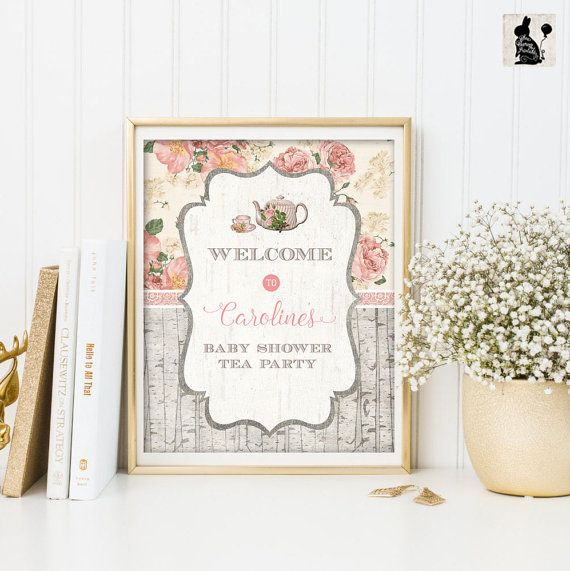 Baby Shower Tea Party Welcome Sign. by BlueBunnyPrintables on Etsy