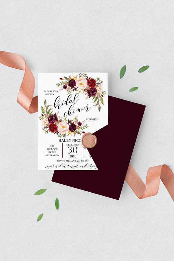 Burgundy Bridal Shower Invitation Instant Marsala Fl Template Products Pinterest Invitations