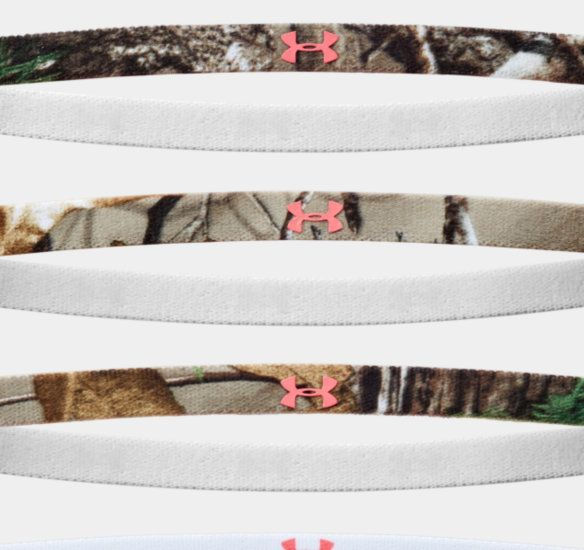 "Women's Under Armour Outdoor Mini Headbands | THE FUNDAMENTALS: Soft elastic mini headband with grippy silicone UA logos for stay-put performance * Moisture-wicking fabric helps keep you cooler and drier * Width: 3/8"" * Sold in sets of 6 * Women's one size fits all * Imported"
