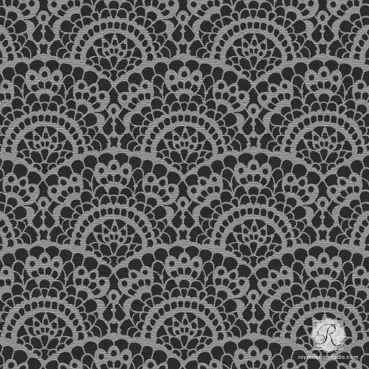 This lace wall art stencil is perfectly sized for craft, fabric and furniture DIY stencil projects for spooky Halloween party decorations or cute nursery decor.