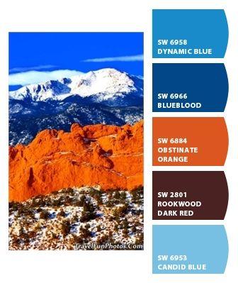 color palette blauw oranje bruin