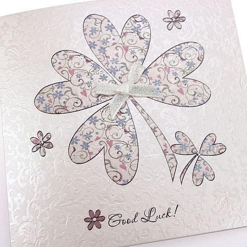 Handmade Good luck Card Clover Shamrock Floral Pattern Bow Crystals
