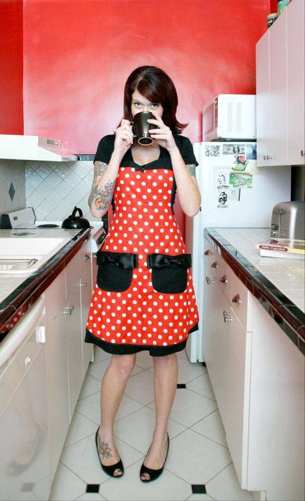 Minnie Mouse disney polka dot pin up apron by HauteMessThreads, $36.00