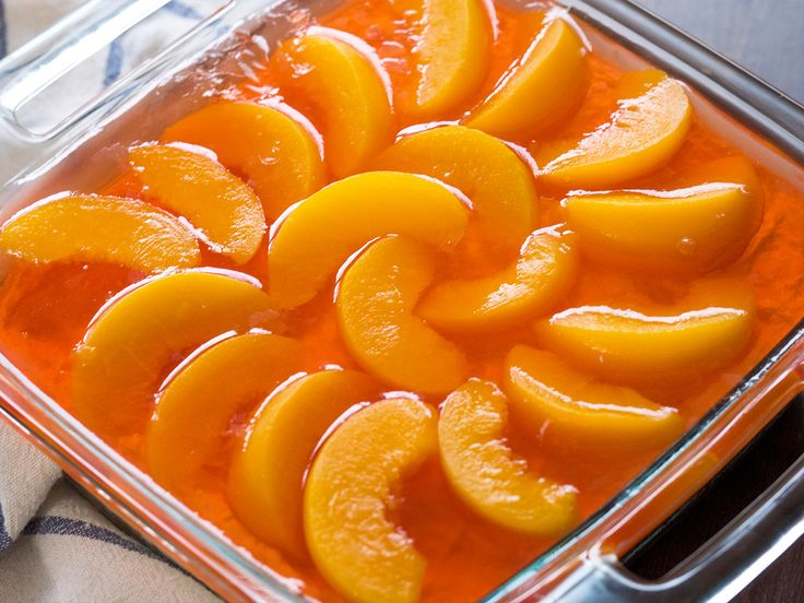 Peach Pretzel Jello Salad for low carb use sugar free hello,low carb crust,SWEETENER. Peaches in water