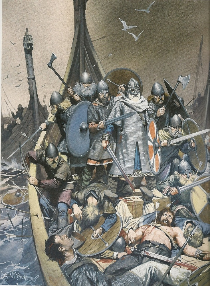"Scene from ""King Olaf Tryggvason's Saga"" by Angus McBride Climactic episode of the battle of Svolder (King Olaf left of center) http://burnpit.legion.org/2013/09/battle-svolder-norse-king-olaf-tryggvason-defeated-coalition-enemy-navies"