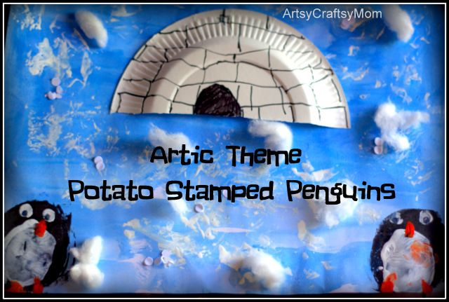 Artsy Craftsy Mom: Artic-Theme Potato Print Penguin Craft - Celebrating Penguin awareness month..